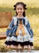 White Lace Yellow Bowknot Children Sweet Lolita Kids Gray-blue Velour Autumn Winter Long Sleeve Dress