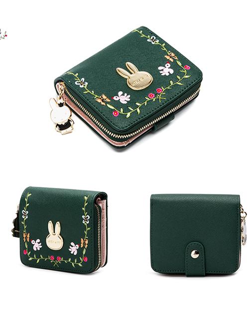 Vine Embroidery Cute Miffy Rabbit Elegant Classic Lolita Dark Green Short Folding Wallet