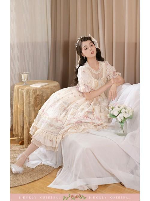 Star Moon Series OP Chiffon Elegant Classic Lolita Short Sleeve Long Dress
