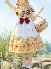 A Little Sparrow Series Pastoral Style Cute Printing Sweet Lolita Yellow Sling Dress