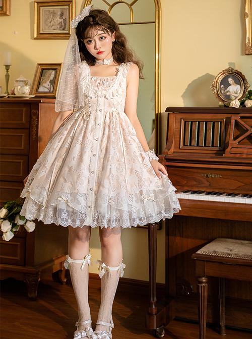 Floating Moon Dark Night Series JSK Floating Moon Apricot Organza Classic Lolita Sling Dress