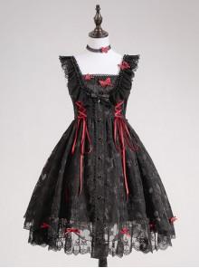Floating Moon Dark Night Series JSK Dark Night Black Organza Gothic Lolita Sling Dress