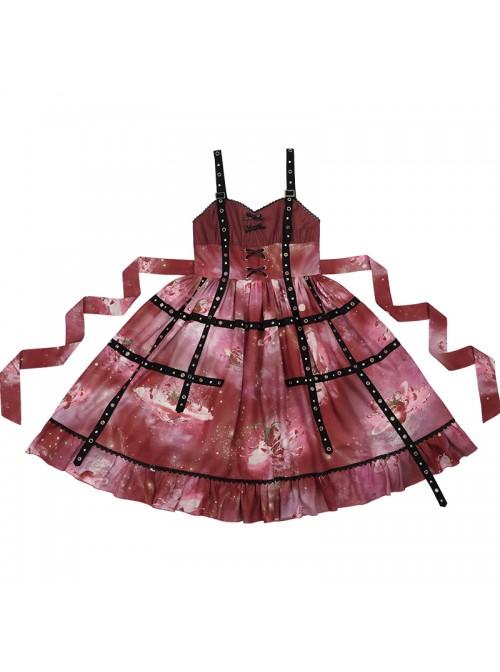 Bomb Strawberry Series JSK Sweet Hot Girl Strawberry Printing Sweet Lolita Red Sling Dress