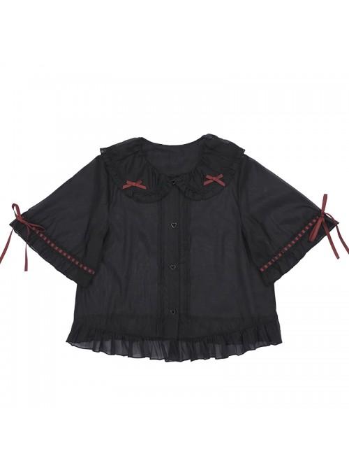 Popping Candy Series Doll Collar Ruffle Hem Sweet Lolita Light Short Sleeve Shirt