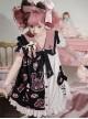 Strawberry Bear Series OP Cute Printed Stitching Sweet Lolita Short Sleeve Dress