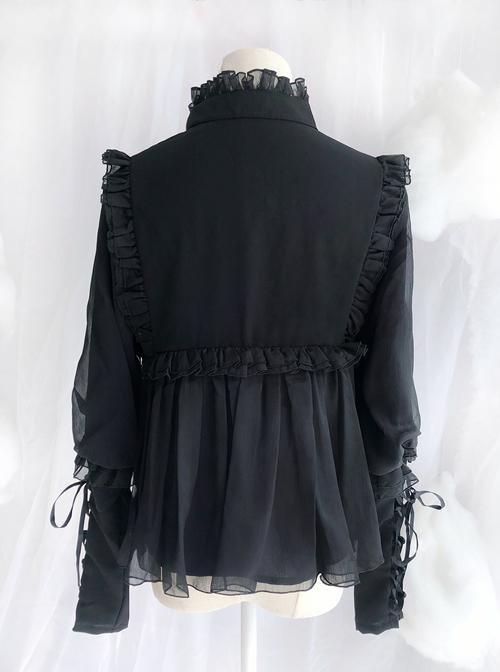 Retro Long Sleeve Ruffle Chiffon Lace Classic Lolita Lamb-leg Sleeve Shirt