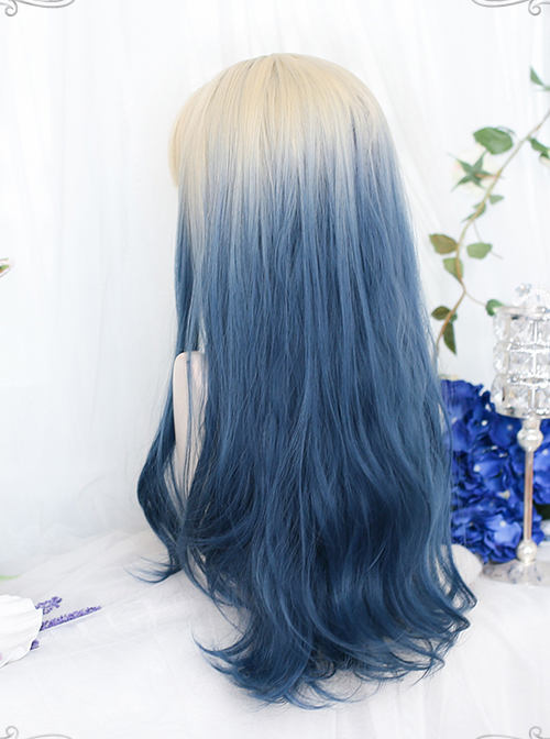 Natural Blue Gentle Gradient Long Curly Wig Classic Lolita Wigs