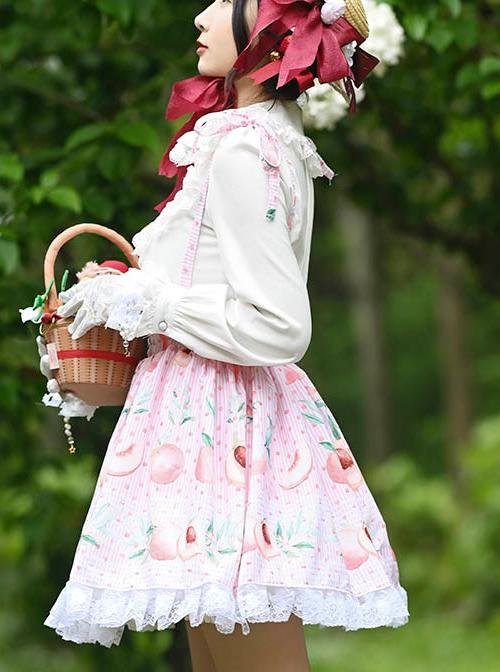 Peach Printed Ruffle White Lace Sweet Lolita Pink Sling Skirt