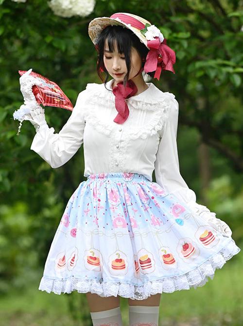 Cute Cake Printing Sweet Lolita Ruffle White Lace Light Blue Skirt