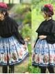 Retro Flowers Printing Classic Lolita Black Lace Blue Skirt