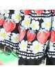 Red Strawberry White Flowers Printing Sweet Lolita Cute Lace Black Skirt