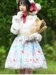 Honey Peach Printing Sweet Lolita White Lace Blue Stripe Skirt