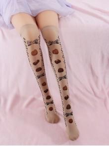 Chocolate Bowknot Printing Sweet Lolita Stockings