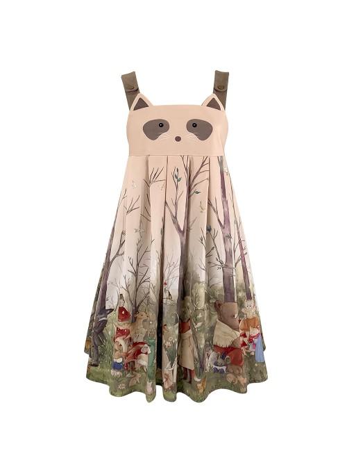 Little Raccoon Series JSK Autumn Winter High Waist Sweet Lolita Sling Dress And Hoodies And Hat Full Set