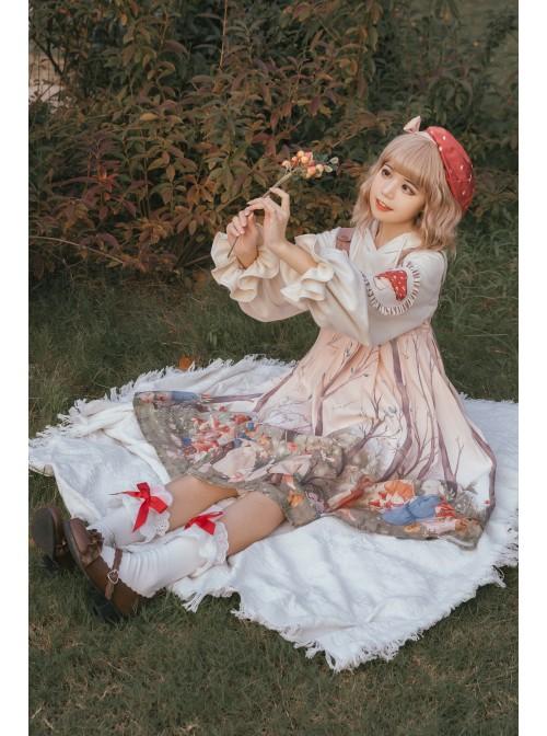 Little Raccoon Series Autumn Winter Sweet Lolita Red Little Mushroom Bowknot Hat