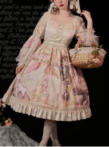 Beginning Of Sun And Moon Series OP Vintage Printing Elegant Classic Lolita Long Sleeve Dress
