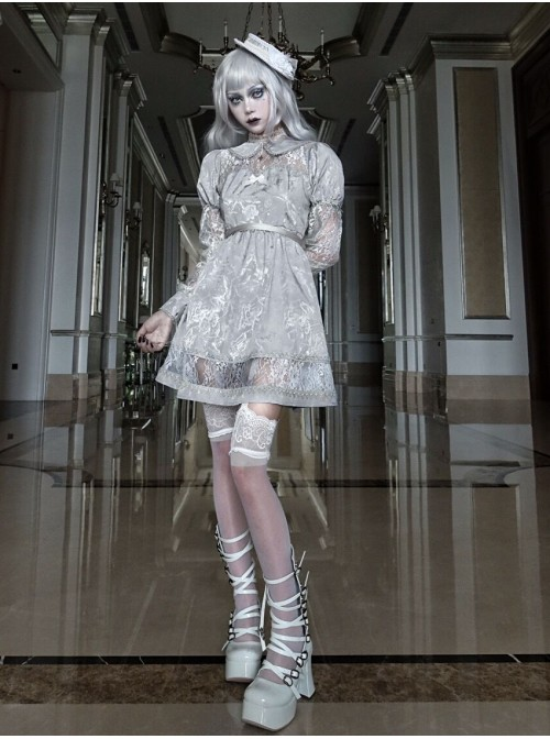 Rose Funeral Series White Gothic Lolita Dirty Dyed Jacquard Cute Doll Collar Long Sleeve Dress