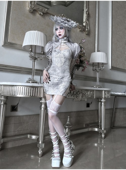 Rose Funeral Series White Gothic Dirty Dyed Heavy Workmanship Lace Hollow Gray Bottoming Sling Dress