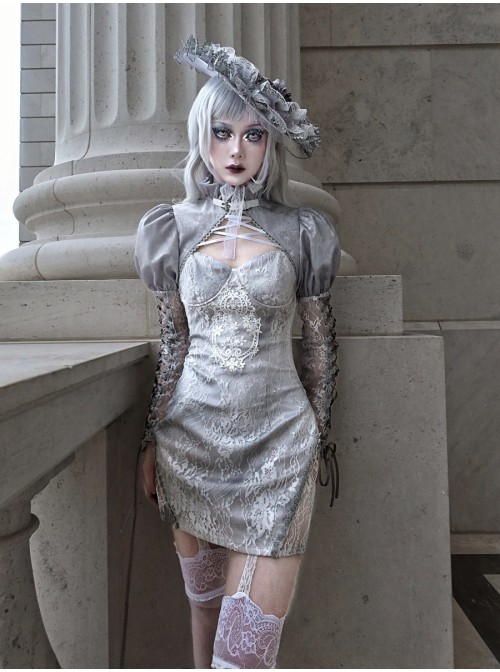 Rose Funeral Series White Gothic Dirty Dyed Jacquard Palace Silver Silk Palace Long Sleeve Gray Short Coat Autumn