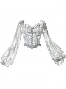 Rose Funeral Series White Gothic Dirty Dyed Lace Fishbone Jacquard Gray Lantern Sleeve Top