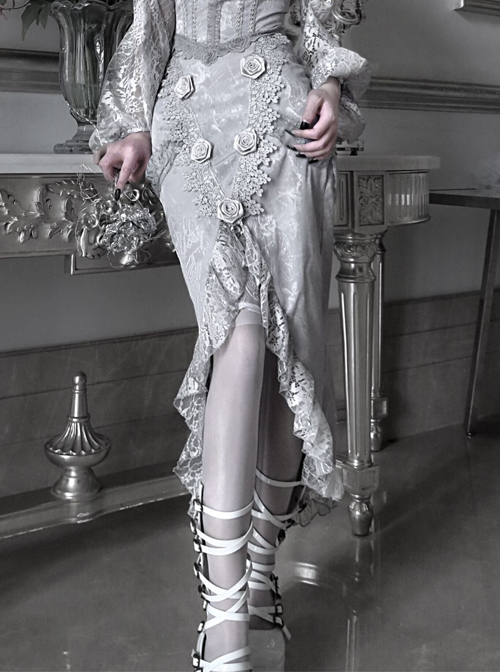 Rose Funeral Series White Gothic Dirty Dyed Lace Rose Palace Slit Wrap Hip Gray Fishtail Long Skirt