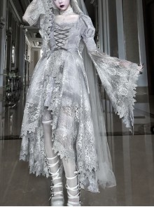 Rose Funeral Series White Gothic Lolita Dirty Dyed Heavy Workmanship Lace Halloween Court Classic Gray Dress