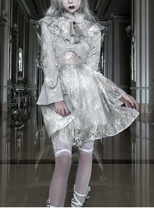 Rose Funeral Series White Gothic Dirty Dyed Halloween Belly Hollowed Out Medieval Gray Long Sleeve Dress
