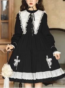 Cross Temple Series OP Pure Color Cotton Halloween Simplicity Gothic Lolita Black Long Sleeve Dress