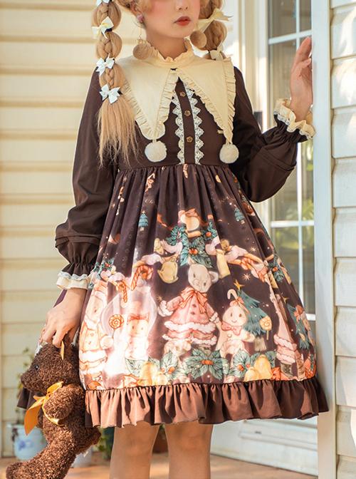 Christmas Bear Series OP Cute Printing Plush Ball Ruffle Pointed Collar Sweet Lolita Brown Long Sleeve Dress