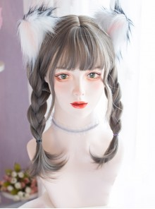 Natural Aoki Linen Ash Braid Wig Double Ponytails Daily Cute Sweet Lolita Wigs