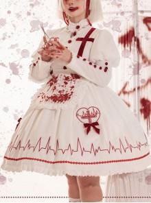 Scarlet Cross Series OP Conventional Style Halloween Nurse Blood Printing Gothic Lolita Long Sleeve Dress