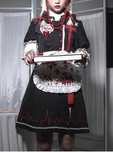 Scarlet Cross Series OP Short Style Blood Printing Halloween Nurse Gothic Lolita Long Sleeve Dress