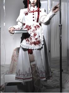Scarlet Cross Series OP Long Style Blood Printing Halloween Nurse Gothic Lolita Long Sleeve Dress