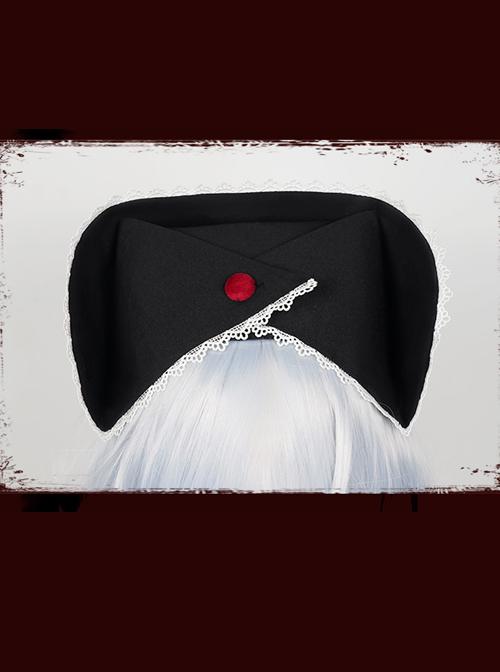 Scarlet Cross Series Blood Printing Cross Embroidery Chain Halloween Gothic Lolita Nurse Hat