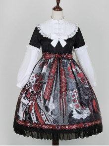 The Witch Image Series Lantern Sleeve OP Darkness Style Loli Halloween Gothic Lolita Long Sleeve Dress