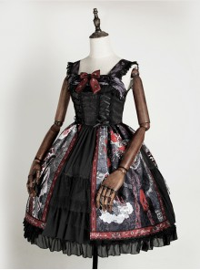 The Witch Image Series Double Layer JSK Small High Waist Full Placket Medium Length Halloween Gothic Lolita Sling Dress