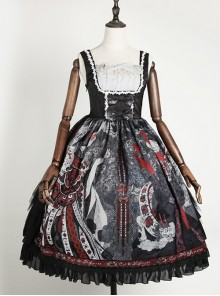 The Witch Image Series JSK Darkness Style Printing Small High Waist Side Placket Halloween Gothic Lolita Sling Dress