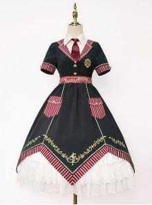Magic Academy Series Gorgeous Version OP Small High Waist Halloween School Lolita Short Sleeve Dress