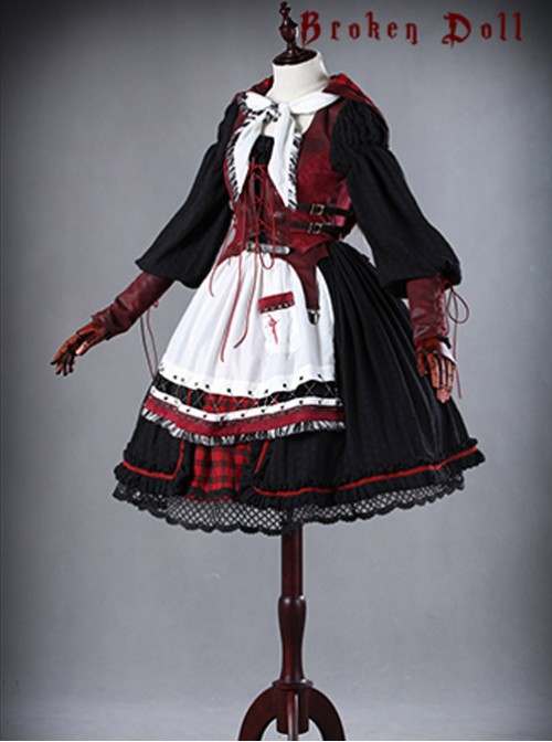 A Little Red Hat That Turns Into A Wolf Red-black Lolita Full Set