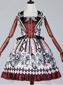 Red black poker fake two piece vest skirt Lolita JSK