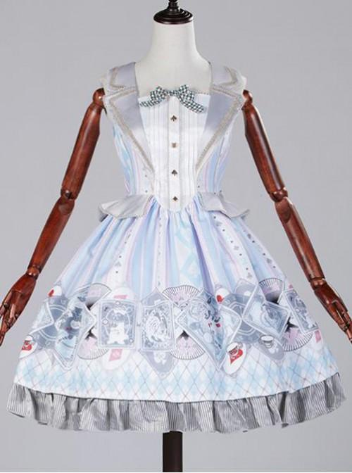 Blue white poker fake two piece vest skirt Lolita JSK