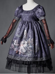 The Broken Doll Dai purple yarn sleeve long sleeve Lolita OP