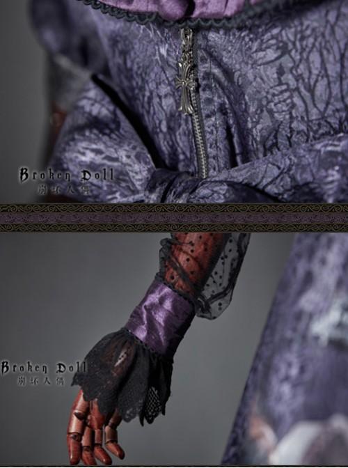 The Broken Doll Dai purple yarn sleeve long sleeve Lolita OP