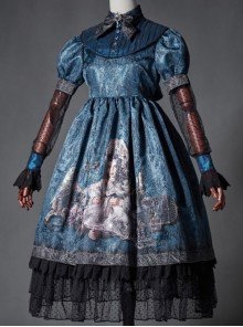 The Broken Doll Indigo Cuff Sleeve Lolita OP
