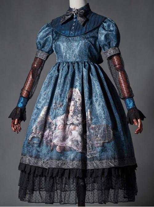 The Broken Doll Indigo Cuff Sleeve Lolita OP