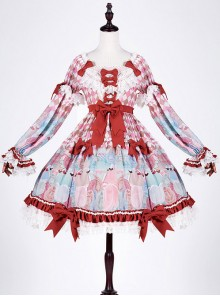 Crisp breast tea girl breasts small high waist toffee cotton candy lolita OP
