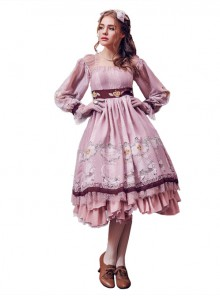 Royal Carousel smoke pink Lolita long-sleeved OP