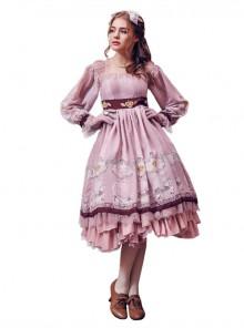 Royal Carousel smoke pink Lolita long-sleeved OP