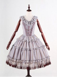 Classical Puppets Royal Carousel Super Special Design Bluish Gray Chiffon Lolita Jumper Skirt