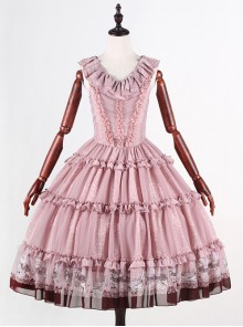 Classical Puppets Royal Carousel Super Special Design Smoke Pink Chiffon Lolita Jumper Skirt